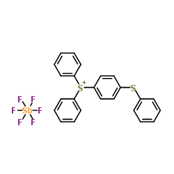 Structure of 4-Thiophenyl phenyl diphenyl sulfonium hexafluoroantimonate CAS 71449-78-0