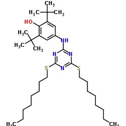 Structure of 2,4-Bis(octylthio)-6-(4-hydroxy-3,5-di-tert-butylanilino)-1,3,5-triazine CAS 991-84-4