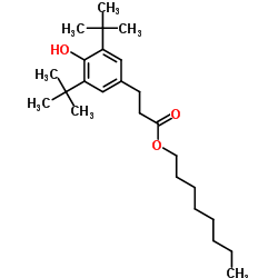 Structure of Octyl-3,5-di-tert-butyl-4-hydroxy-hydrocinnamate CAS 125643-61-0