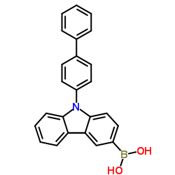 Structure of 9-(Biphenyl-4-yl)-9H-carbazol-3-yl)-boronic acid CAS 1028648-22-7