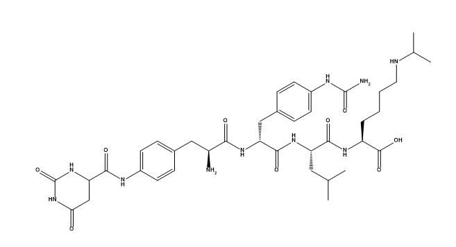 Structure of 4-[2,6-dioxohexahydropyrimidin-4(S)-ylcarboxamido]-L-phenylalanyl-4-ureido-D-phenylalanyl-L-leucyl-N6-isopropyl-L-lysyl CAS PNA-2731