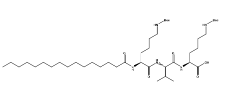 Structure of Pal-K(Boc)VK(Boc)-OH CAS PNA-2732