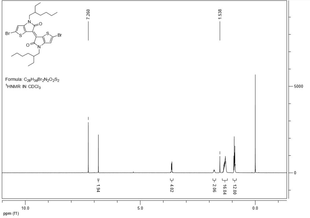 E-22-dibromo-44-bis2-ethylhexyl-66-bithieno32-bpyrrolylidene-554H4H-dione-CAS-1147124-49-9-HNMR