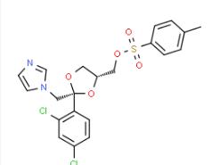 Structure of cis-[2-(2,4-Dichlorophenyl)-2-(1H-imidazol-1-ylmethyl)-1,3-dioxolan-4-yl]methyl-4-methylbenzenesulphonate CAS 134071-44-6