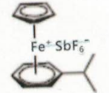 Structure of (eta-cumene)-(eta-cyclopentadienyl)iron(II) hexafluoroantimonate CAS 100011-37-8