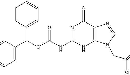 Structure of 2-(2-(((benzhydryloxy)carbonyl)amino)-6-oxo-3,6-dihydro-9H-purin-9-yl)acetic acid CAS AANA-0129