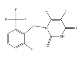 Structure of 1-[2-fluoro-6-(trifluoromethyl)benzyl]-5-iodo-6-methylpyrimidine-2,4(1H,3H)-dione CAS 1150560-54-5