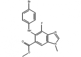 Structure of Methyl 5-((4-bromo-2-chlorophenyl)amino)-4-fluoro-1-methyl-1H-benzo[d]imidazole-6-carboxylate CAS 606144-02-9