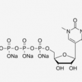 Structure of N1-methyl-pseudouridine 5'-triphosphate (UTP), trisodium salt Solution CAS UENA-0196